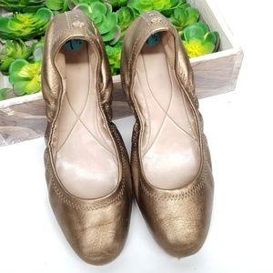 Cole Haan Zero Grand Bronze Leather Ballet Flats